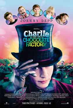 picture of the promotional film poster for charlie and the choclate factory