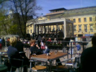 View of the jazz band in the centre of Helsinki