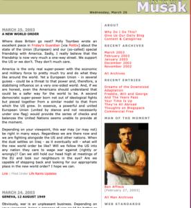 Screenshot of Musak, 26 March 2003