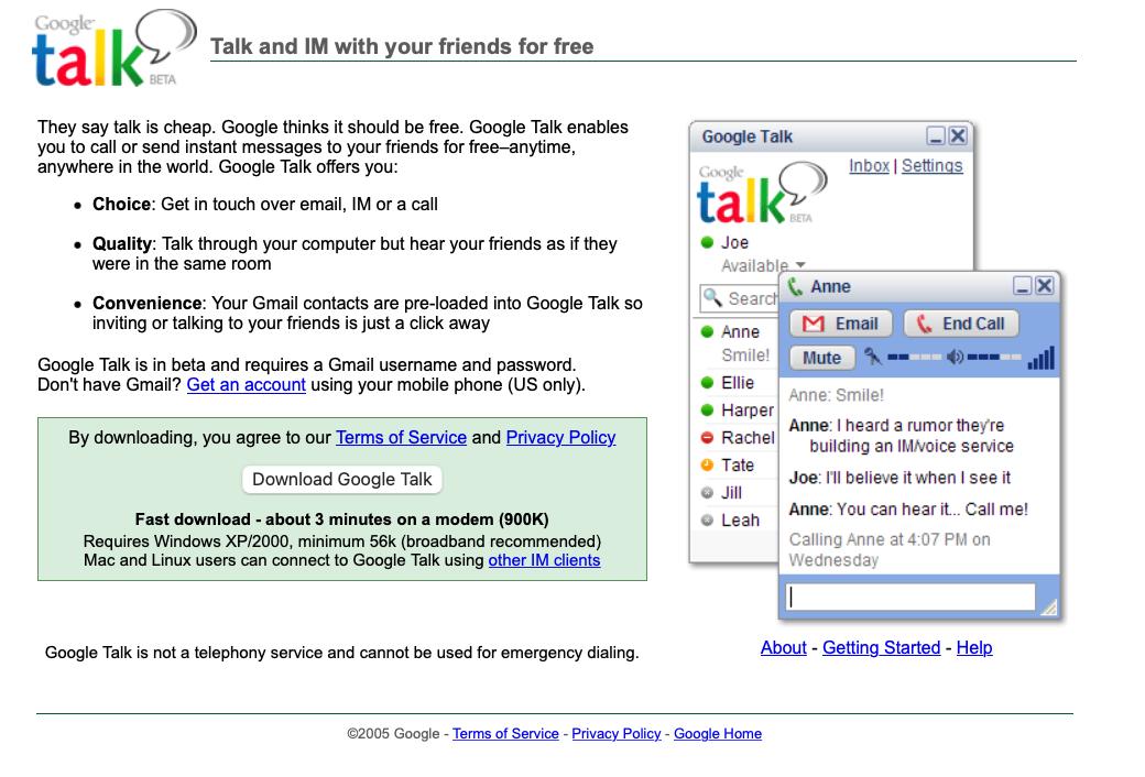 Google Talk Download Page
